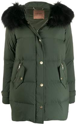 Liu Jo faux fur trimmed padded coat
