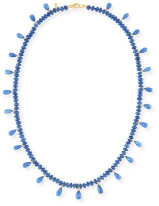 Splendid Smooth Blue Sapphire & Faceted Briolette Necklace