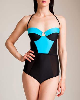 Chromat Swimwear X Bustier Mesh Swimsuit