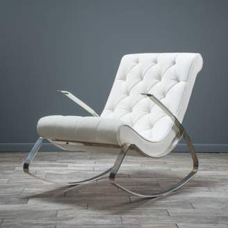 Noble House Stephanie Tufted Rocking Chair, White