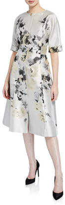 Rickie Freeman For Teri Jon Short-Sleeve Button-Front Floral-Print Jacquard Dress