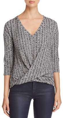 Three Dots Ribbed Twist-Front Sweater