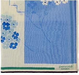 Penrose London PENROSE LONDON MEN'S BRAMPTON.A COLORBLOCKED FLORAL PRINT COTTON-SILK POCKET SQUARE