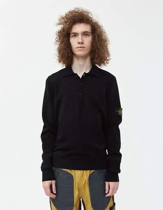 Stone Island Stretch Wool Knit Polo Sweater in Black