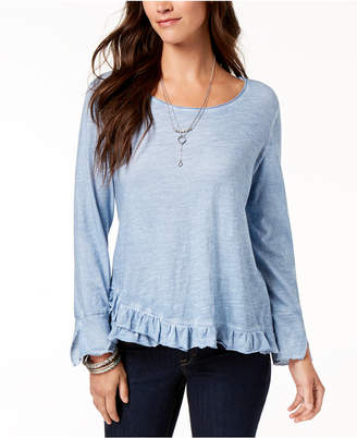 Style&Co. Style & Co Petite Ruffle-Hem Top, Created for Macy's
