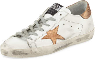 Golden Goose Superstar Leather Low-Top Platform Sneaker with Glitter Star