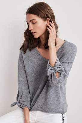 Velvet by Graham & Spencer FREJA 3/4 TIE SLEEVE CASHMERE SWEATER