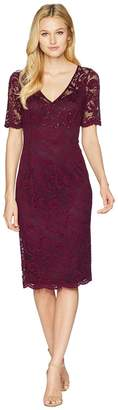 Adrianna Papell Short Sleeve Stretch Lace Cocktail Dress with Scattered Beads Women's Dress
