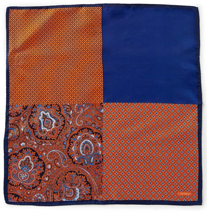 Cremieux 4-Square Paisley Woven Silk Pocket Square