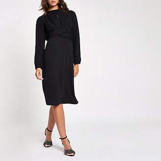 River Island Black wrap waist midi dress