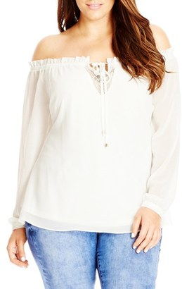 Plus Size Women's City Chic Lace Inset Off The Shoulder Ruffle Top $69 thestylecure.com