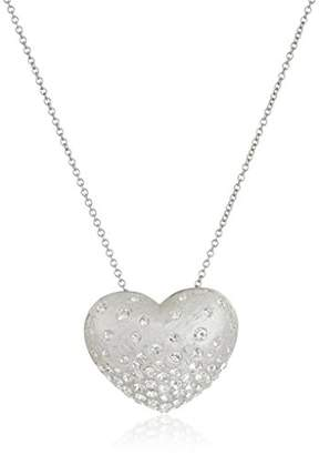 clear Sterling Silver Crystal Heart Pendant Necklace