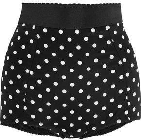 Dolce & Gabbana Polka-Dot Silk-Blend And Lace Shorts