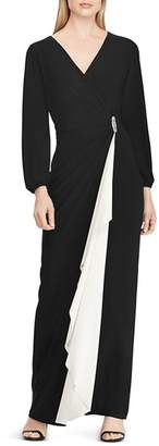 Ralph Lauren Color-Blocked Jersey Gown