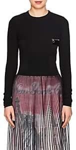 Paco Rabanne WOMEN'S TECH-JERSEY LONG-SLEEVE T-SHIRT-BLACK SIZE 34 FR