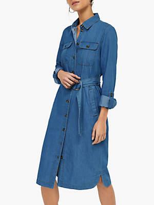 Warehouse Denim Shirt Dress, Mid Wash