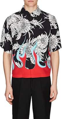 Prada Men's Flame- & Floral-Print Bowling Shirt