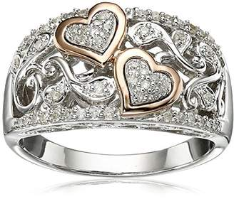 Sterling Silver and 14k Pink Gold Diamond Hearts Ring (1/4 cttw
