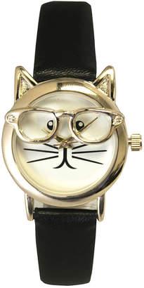 Olivia Pratt 28mm Cat in Glasses Watch w/ Leather