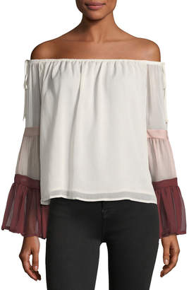 ENGLISH FACTORY Colorblock Off-the-Shoulder Top