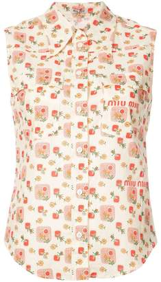 Miu Miu logo printed sleeveless collared shirt