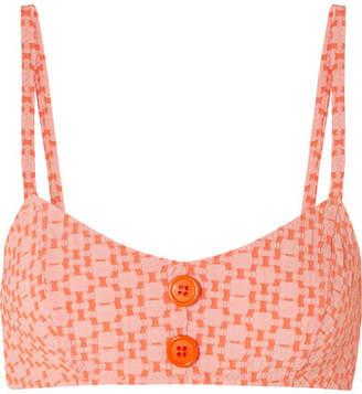 Lisa Marie Fernandez Genevieve Seersucker Bikini Top - Orange