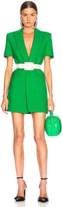 Area Bonded Short Sleeve Blazer Dress in Kelly Green | FWRD