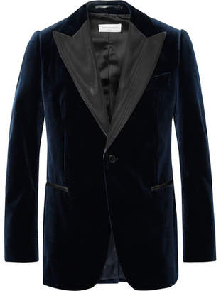 Dries Van Noten Midnight-Blue Slim-Fit Faille-Trimmed Cotton-Velvet Tuxedo Jacket