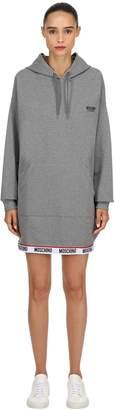 Moschino Hooded Logo Band Sweatshirt Dress