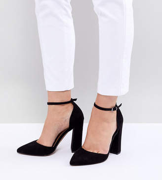 Asos Design DESIGN Wide Fit Pebble pointed high heels