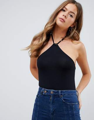 Asos Design DESIGN body with sexy halter tie neck in black