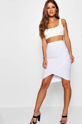 boohoo Petite Pinstripe Asymmetric Midi Skirt