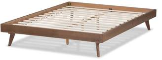 Baxton Studio Jacob Mid-Century Modern Walnut Brown Finished Solid Wood Bed Frame, Multiple Sizes