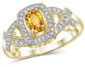 JewelersClub 1/2 Carat T.G.W. Citrine And 1/20 Carat T.W. White Diamond Sterling Silver Ring
