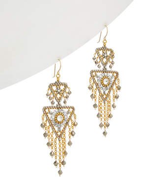 Miguel Ases 14K Filled Crystal Drop Earrings