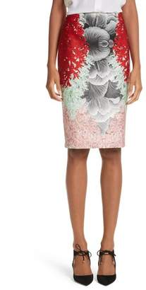 Yigal Azrouel Coral Print Scuba Pencil Skirt