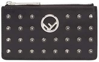 Fendi studded logo zip cardholder