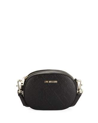 Love Moschino Logo-Embossed Clutch Bag with Strap