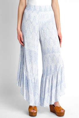 CRa En ̈Me En CrAme Dot Printed Ruffle Hem Wide Leg Pant