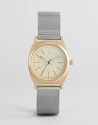 Asos Design DESIGN Premium Brushed Gold And Silver Mesh Watch
