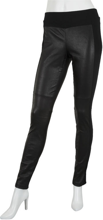 Vince Stretch Leather and Ponte Legging in Black