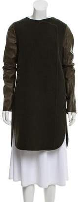 Vince Leather-Accented Wool Coat