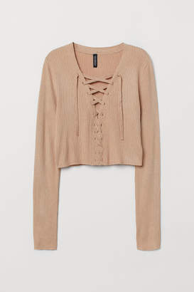 H&M Short Sweater with Lacing - Beige
