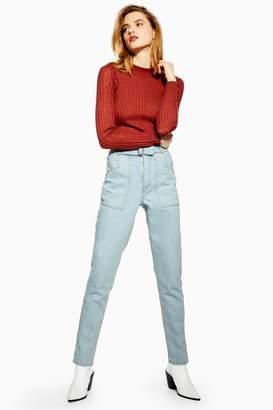 Topshop Womens Bleach Elastic Waist Mom Jeans - Bleach Stone