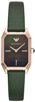 Emporio Armani Rose Gold Dress Green Leather Strap Rectangular Ladies Watch
