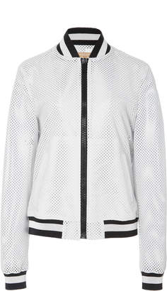 Michael Kors Striped Perforated Leather Bomber Jacket