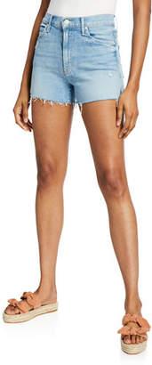 Mother Rascal Rainbow High-Waist Distressed Denim Shorts