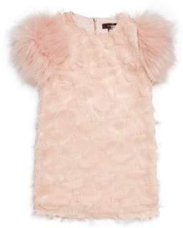 Imoga Little Girl's& Girl's Faux Fur Sleeve Dress