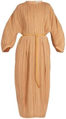 Carillon zip-front pleated silk dress