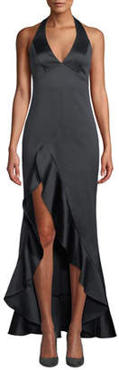 Halston Halter V-Neck High-Low Gown with Flounce Skirt